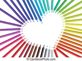 cuore, con, colorare, matite, vettore