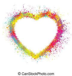 cuore, con, grunge, fondo., eps, 8