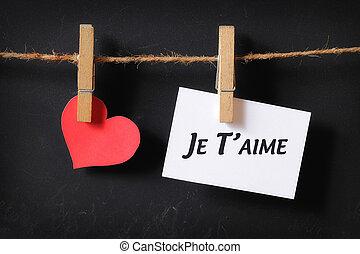 cuore, con, je, t'aime, manifesto, appendere