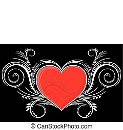 cuore, con, ornamenti