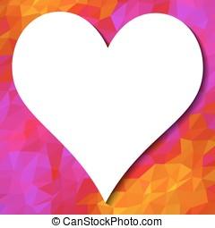 cuore, con, posto, per, testo