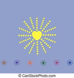 cuore, con, raggi, come, sole