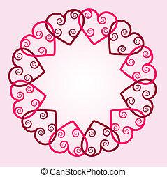 cuore, con, turbini, rotondo, fondo
