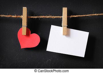 cuore, con, vuoto, manifesto, appendere