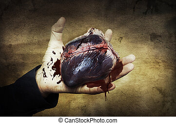 cuore, concept., halloween, sangue, mano