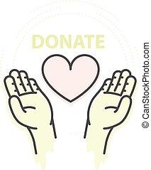 cuore, concetto, aiuto, carità, -, donazione, mani, presa