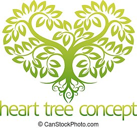 cuore, concetto, albero