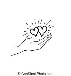 cuore, concetto, amore, famiglia, mano., due, forte, icon., risparmiare, tuo