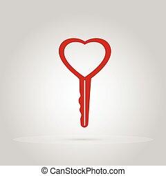 cuore, concetto, amore, modellato, chiave, chiave
