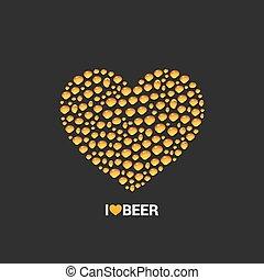 cuore, concetto, birra, vettore, disegno, fondo, gocce