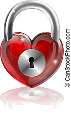 cuore, concetto, chiuso chiave