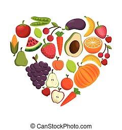 cuore, concetto, cibo sano, forma, icona