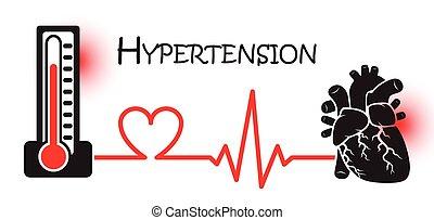 cuore, concetto, primario, alto, )(, ipertensione,...
