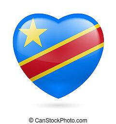 cuore, congo, repubblica, icona, democratico