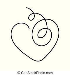 cuore, continuo, editable, illustrazione, vettore, stroke., rivestire disegno