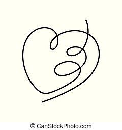 cuore, continuo, editable, stroke., rivestire disegno
