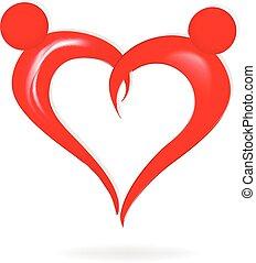 cuore, coppia, amore, logotipo