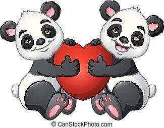 cuore, coppia, panda, rosso, cartone animato