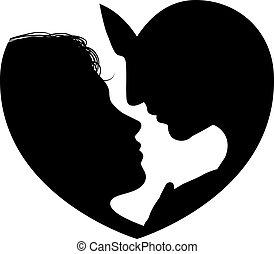 cuore, coppia, silhouette, facce