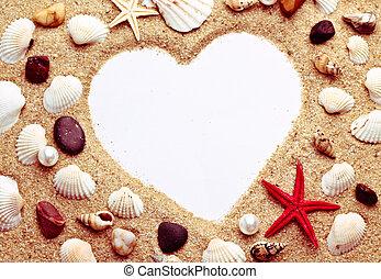cuore, cornice, fatto, foto, sgusciare