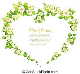 cuore, cornice, fiori, forma