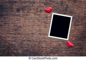 cuore, cornice foto, space., legno, fondo, vuoto, rosso