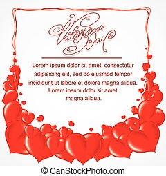 cuore, cornice, giorno valentines, fondale