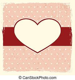 cuore, cornice, grunge, fondo