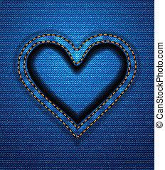 cuore, cornice, jeans