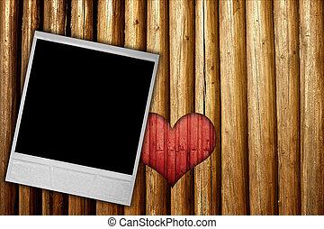 cuore, cornice, legno, fondo, foto