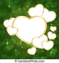cuore, cornice, verde