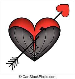 cuore, corsetto, freccia
