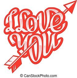 cuore, corto, amore, forma, inciso, frase, lei
