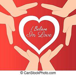 cuore, credere, protetto, amore, mani