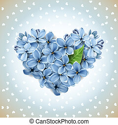 cuore, da, fiori, di, uno, lilla