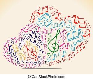 cuore, da, musica, note., vettore, illustrazione