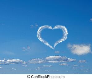 cuore, da, nuvola, in, il, cielo blu