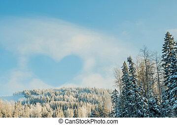 cuore, da, nuvola, in, il, cielo blu, sopra, il, cime albero