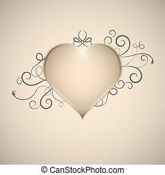 cuore, decorato, con, mano, disegnato, turbini, e, curves., vector.
