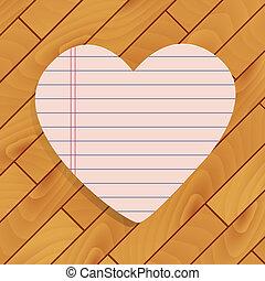 cuore, di, carta, su, legno, fondo