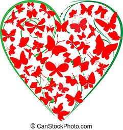cuore, di, farfalle