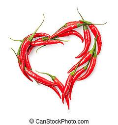cuore, di, pepe peperoncino rosso, isolato, bianco