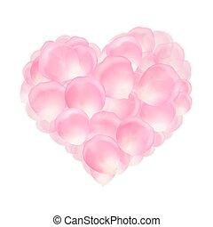 cuore, di, rosa colore rosa, petali