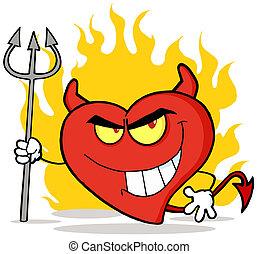 cuore, diavolo, carattere, rosso