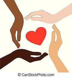 cuore, differente, colorare, pelle, mezzo, mani umane, rosso