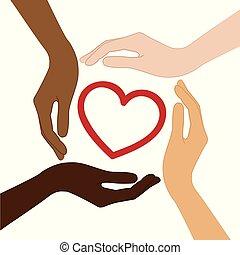 cuore, differente, pelle, mezzo, colori, mani umane