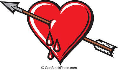 cuore, disegno, freccia