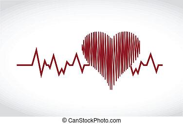 cuore, disegno, salvavita, illustrazione