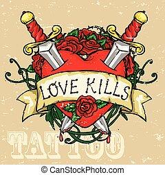 cuore, disegno, tatuaggio