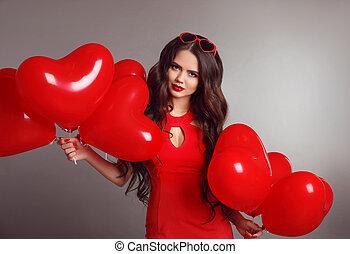 cuore, donna, amore, grigio, festa., isolato, valentina, day., fondo., compleanno, brunetta, attraente, ritratto, studio, palloni, rosso